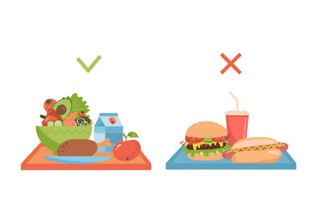 Set of two trays with healthy and unhealty food. Choice between different dishes. Fast food vs good lunch. flat vector illustration Vektorové ilustrace