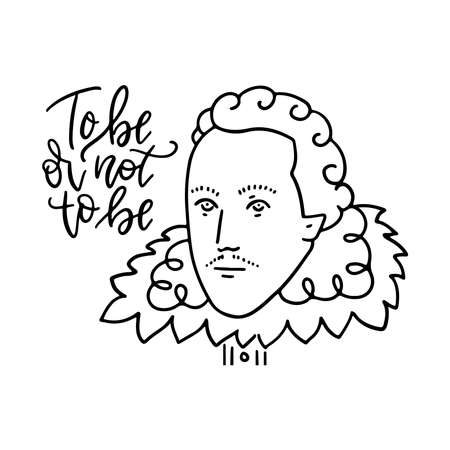 To be or not to be - lettering text of question portrait in linear style. Vector hand drawn concept.