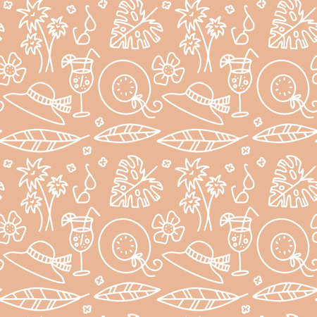 Beige summer seamless pattern. Hat, glasses, drinks, palm levea and branches, Pastel illustrations are suitable for fabric, gift paper, and summer cards. Linear doodle vector illustration. Иллюстрация