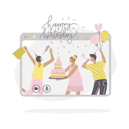 Young people characters celebrating birthday online, self isolation or remote party. Friends having fun in abstract screen. Flat vector illustration with lettering. Holiday banner.