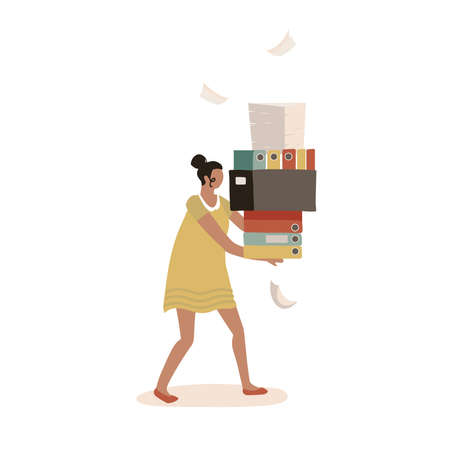 Paper Bureaucracy concept. Young female character carrying a big heap of paper documents, flolders, overwhelmed at work. Stack of papers. Flat vector illustration. Иллюстрация