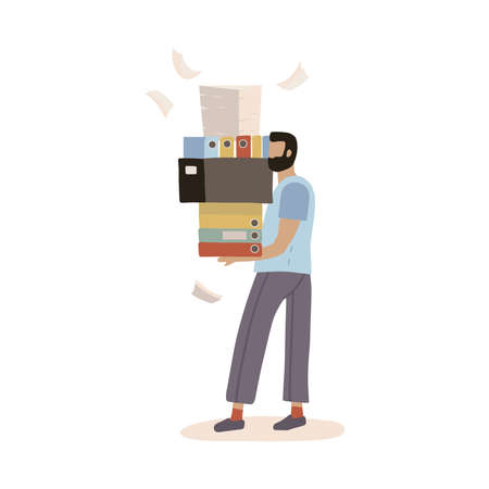 Stressed employee worker holding big pile of office folders, documents. Overworked man with stacks of papers. Stress at work. Bureaucracy, paperwork, big data concept. Vector flat trendy illustration.