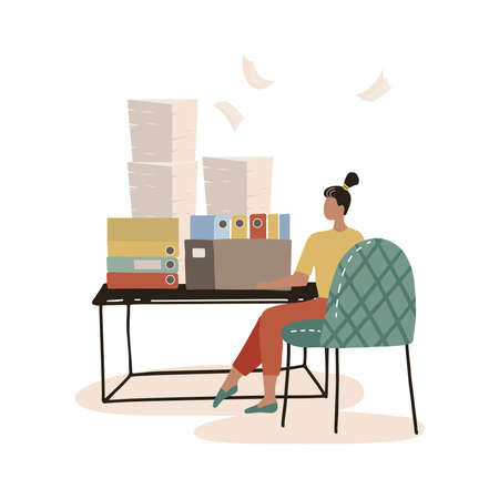 Busy secretary sitting at desk with stack of folders and pile of papers isolated flat vector illustration. Cartoon overworked clerk woman working in office. Workaholic and workplace concept. Иллюстрация