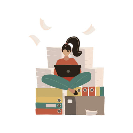 Woman at work doing yoga lotus pose. Pile of paper, busy stressed employee sitting on stack of documents in carton, cardboard box. Paperwork Bureaucracy. Worker meditating and working. Flat vector