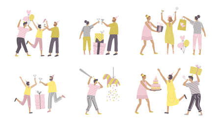 Set funny people characters in birthday party scenes. Women and men pack have fun and give gifts. People celebrating. Flat hand drawn vector illustration.