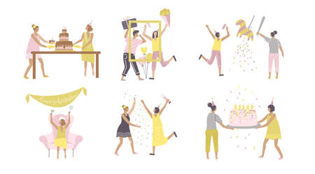 Party scenes set with happy people characters. Friends drinking and having fun together, congratulating and presenting gifts situations. Birthday party. Hand drawn flat vector illustration. Иллюстрация