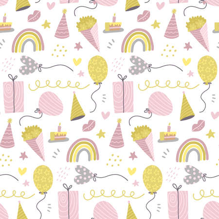Seamless pattern with cute hand drawn gift boxes, baloon, buquete, hats and rainbow. Colorful decorative doodle party elements. Celebration Birthday, Holidays, New Year. Vector flat illustration. Иллюстрация