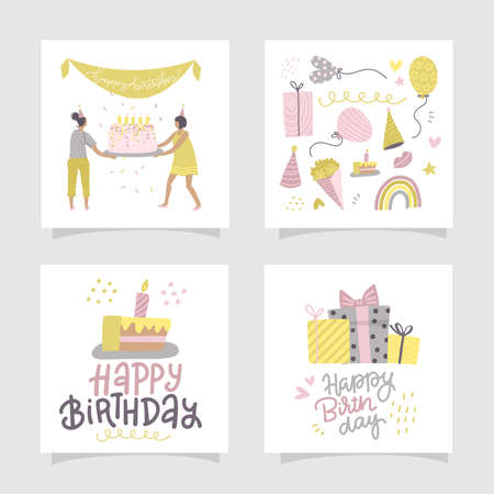 Happy birthday greeting card or party invitation set. Square concept. Hand dawn flat cartoon vector illustration with writen lettering text.