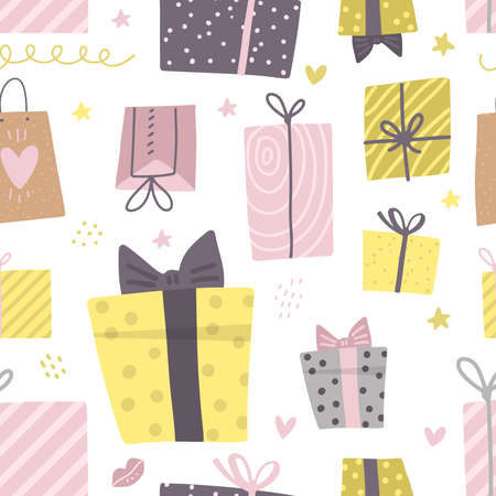 Party presents doodle colorful seamless pattern. Hand drawn gift boxes. Happy Birthday texture. Decorative doodle flat elements. Celebration Birthday, Holidays, New Year. Vector texture.