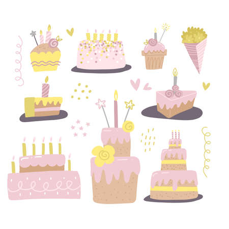 Set of different cakes with candles. Design for birthday greeting card, gift tag, . Hand drawn vector illustration in flat style.