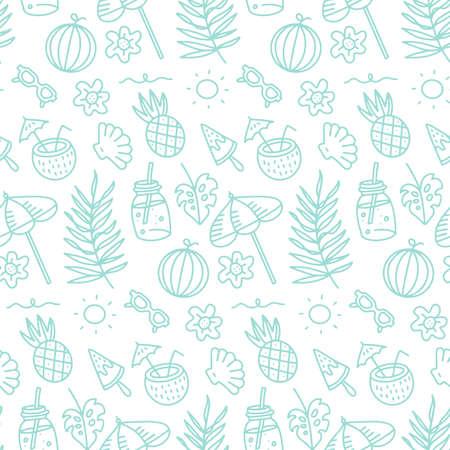 Cute summer abstract linear pattern. Doodle Seamless pattern with summer fruits, beach umbrella, sunglasses, sun, and seashells for children or teenager girls. Vector illustartion. Иллюстрация