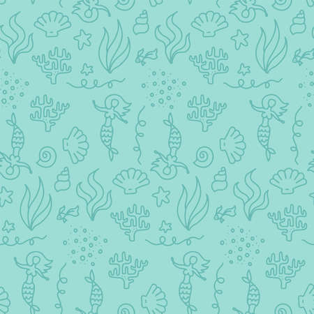 Cute underwater world with mermaids seamless pattern. Doolde linear monochrome backdrop for baby t-shirt print, fashion print design, kids wear, baby shower celebration greeting and invitation card