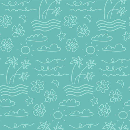 Island seamless pattern in the summer mood with waves, clouds, flowers, palm trees vector in hand drawn linear styledesign for fashion, fabric and all prints on light blue line Иллюстрация