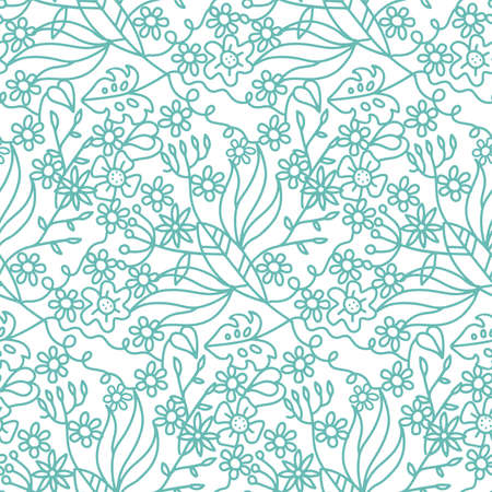 Seamless ornate pattern with flowers, tropical branches, palm leaves. Trendy fashion linear doodle illustration for fabric design. Иллюстрация