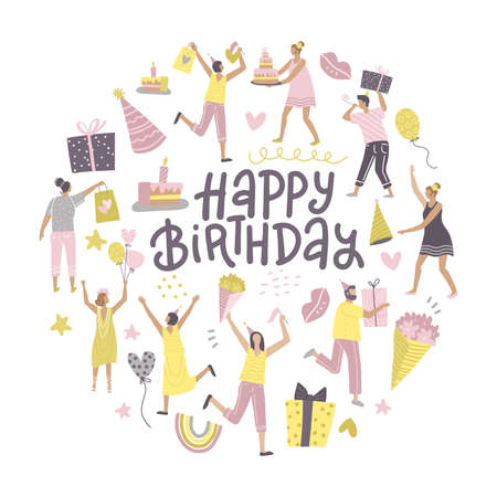 Round shape with group of happy best friends celebrating birthday at the party. Happy birthday greeting card concept with hand lettering. Flat vector illustration. Иллюстрация