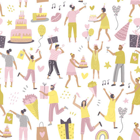 Festive seamless pattern with the group of happy best friends celebrating birthday at the party. Flat vector illustaration.