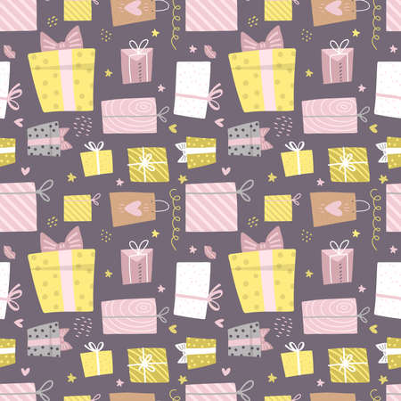 Hand drawn seamless pattern with box and confetti, hearts. Party presents a colorful background with gift box and greeting. Birthday wallpaper. Birthday celebration. Flat vector illustration.