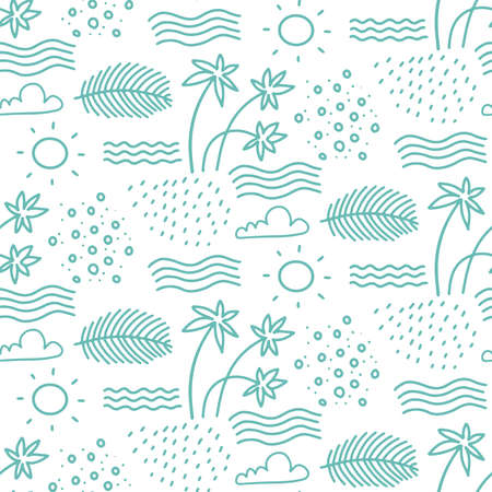 Linear monochrome seamless summer pattern for Wrapping paper. Cute doodle summer pattern with palm tree and waves. Vector illustration and element for your design. Иллюстрация