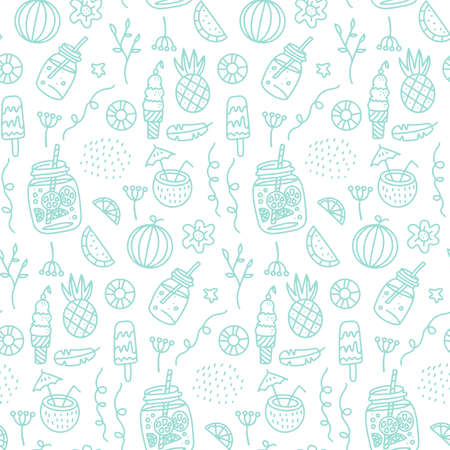 Summer beach Seamless pattern with hand drawn elements -Drinks and fruits. Glass of beverage linear vector illustration.