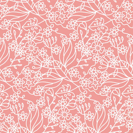 Beautiful seamless pattern with summer flowers and tropical leaves. Ornate linear illustration for wrapping paper, invitation card for wedding, wallpaper and textile. Vector doodle backdrop.