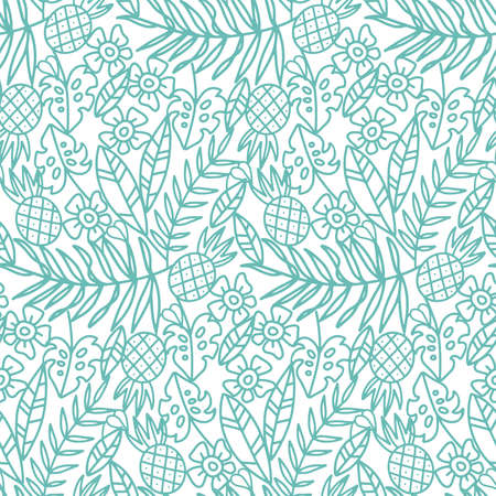 Monochrome palm leaves with tropic flowers and palm leaves vintage engraved style seamless pattern. Simple linear leaf background. Abstract foliage. Contemporary floral design. Vector illustration