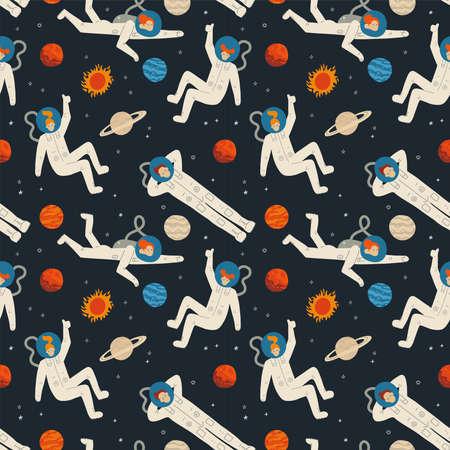 Flat cartoon seamless pattern with cosmos elements - galaxy, astronaut, stars,, moon and planets. Vector hand drawn illustration. Иллюстрация
