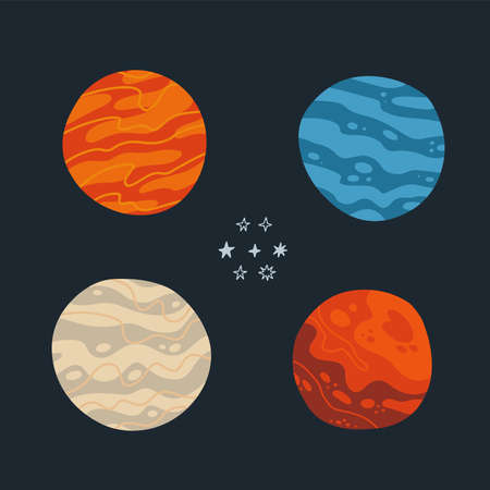 Abstract Spaceplanets. Cosmic flat vector set with abstract planets and stars. Hand drawn illustrations for banners, posters, postcards