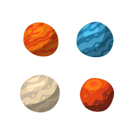 Four vibrant colorful planets shadows and lights. Outer space conceptual icons in modern flat vector design style