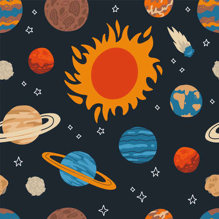 Seamless pattern with sum and planet of solar system in galaxy. Celestial objects in outer space. Astronomical bodies on dark background. Flat vector illustration for print, textile Иллюстрация