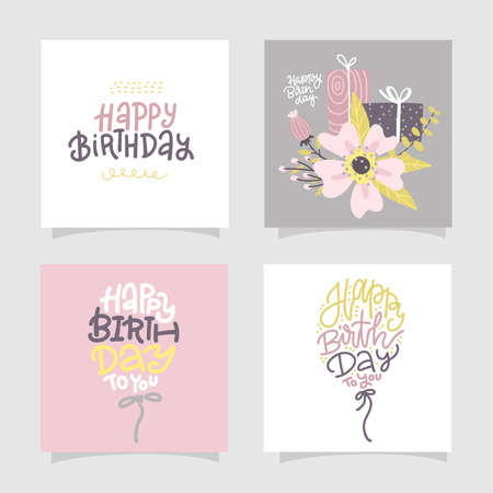 Happy birthday greeting cards and party invitation templates with lettering text. Vector flat hand drawn illustration with trendy lettering text. pastel color square typographic banners.