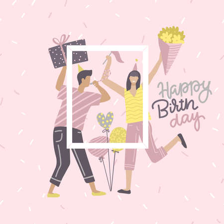 Birthday card yoang with woman and man holding gift and bunch of flowers with text quote happy birthday. Friends taking photo with picture frame at the party. Flat vector card or invitation.