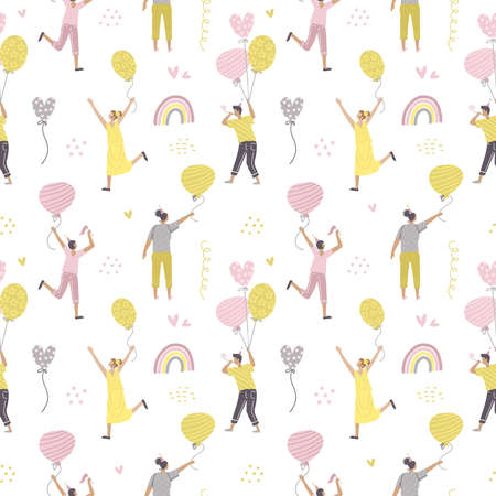Seamless pattern with celebrating people flying on colorful birthday balloons . Hand drawn concept for party and celebration. Cartoon flat vector with little people.