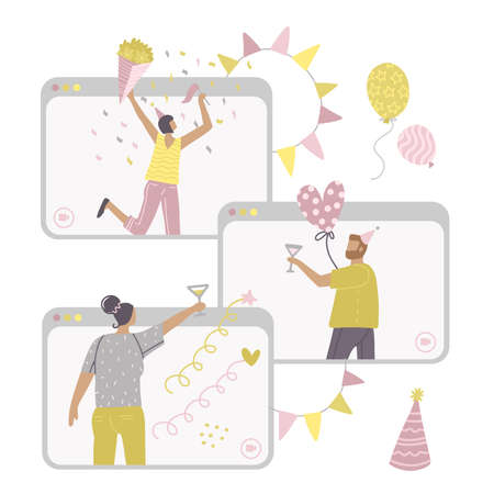 Self-isolation online birthday party. Remote friends holiday celebration metaphors. Spare time ideas for self-isolation. Several gadqet screens with people. Vector flat illustration. Иллюстрация