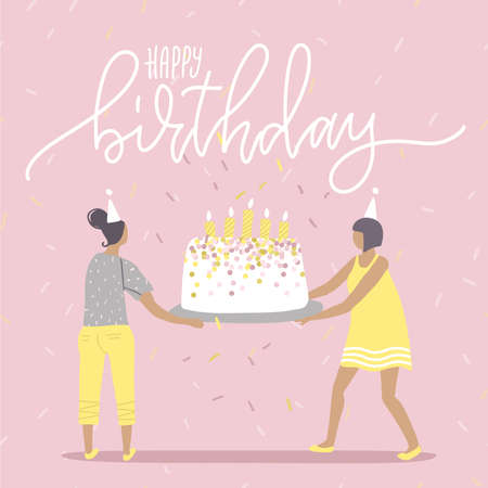 Happy birthday Greeting catd of birthday party big cake with burning candles in hands of two women. Human characters celebrating holiday. Flat vector illustration.