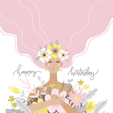 A cute girl holding a bouquet of flowers. Happy birthday greetong card. Vector flat illustration. Design for the holiday of spring, anniversary. Иллюстрация