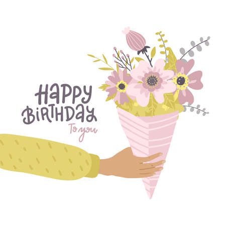 Male hand holding bouquet of flowers. happy birthday greeting card with lettering text. Flat vector illustration. Иллюстрация