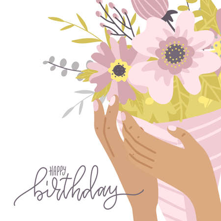 Happy birthday greeting card. Elegant female hands holding composition of flowers, girl showing bouquet composition. Gift for special occasion or holiday, romantic present for girlfriend. Flat vector Иллюстрация