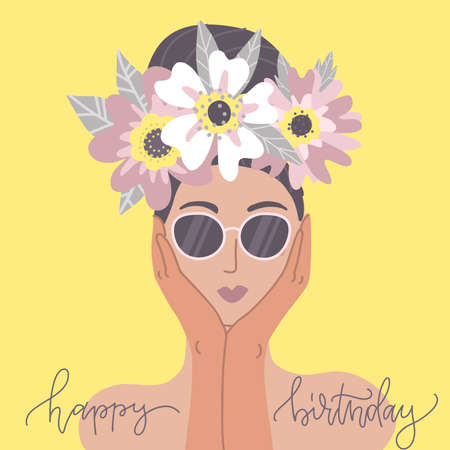 Happy Birthday greeting card. Cute lady in sunglasses with flower wreath. Design template for card, poster, flyer, banner. Flat vector illustration.