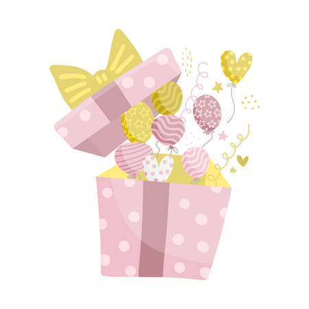 Pink and yellow helium balloons fly out from the box on a white background. Vector flat isolated Illustration for birthday cards and banners.