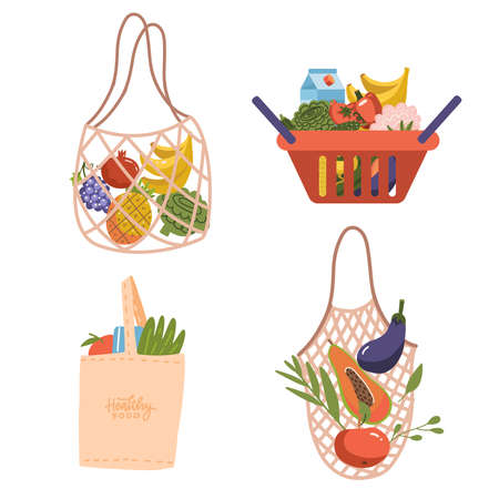 Shopping eco bags and basket set. Grocery purchases, paper and plastic packages, turtle bags with products. Natural food, organic fruits and vegetable. Department store goods. Flat vector illustration