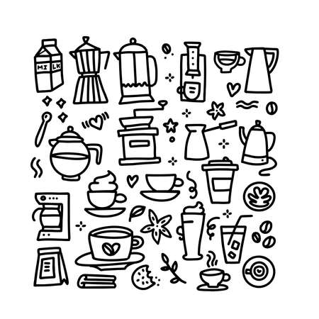 Set of coffee linear drawings set. Hand drawn doodle style vector illustration collection.