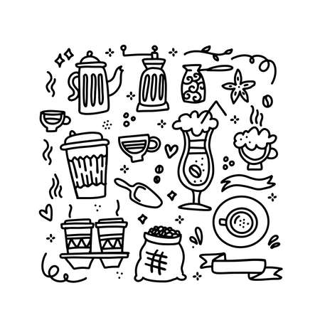 Cute doodle coffee shop icons set. Vector outline coffee drawings for cafe menu. Collection of Coffee linear doodles of cups, boans, pots. Иллюстрация
