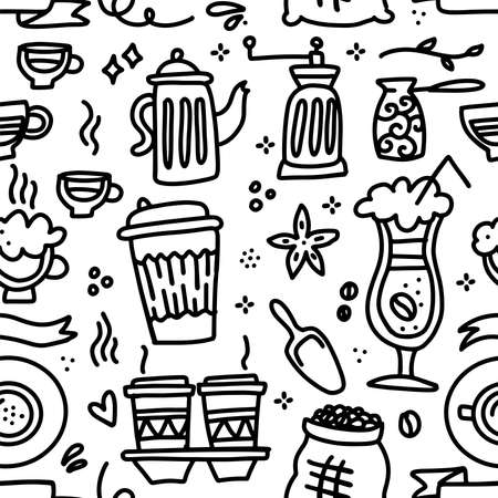Doodle cute hand drawn coffee seamless pattern. Linear cup, pot, cocktail, beans in sack vector illustration. Иллюстрация