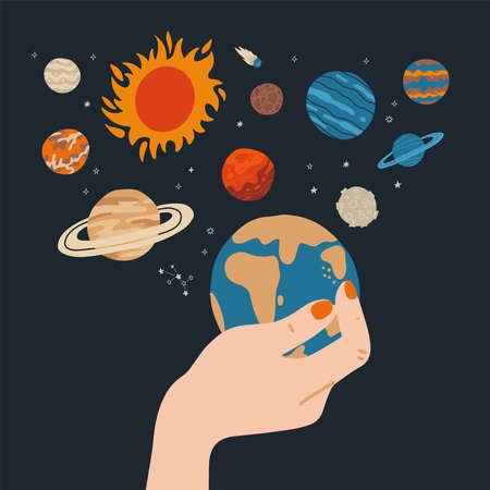 Beautiful female hand is holding Earth with other planets and stars around. Vector flat illustration isolated.
