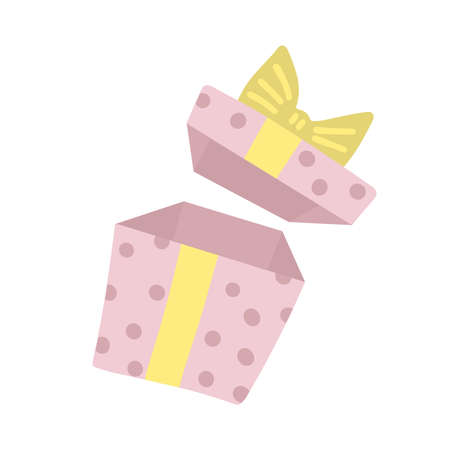 Opened Surprise Gift box with ribbon, bow. Open present box for Sale banner or Birthday card. Magic package concept. Vector flat illustration.