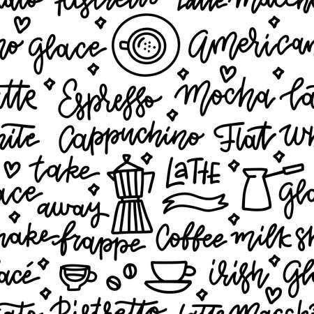 Seamless pattern with coffee beans, coffee pot and cups. Hand drawn vector doodle background. Black on white