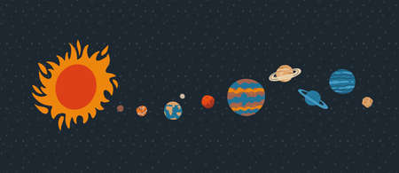 Solar system with sun orbits and planets on dark blue background. Hand drawn flat vector illustration
