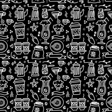 Seamless patterns with coffee set - cup, coffee mill , pot on black chalkboard. Ideal for printing onto fabric and paper or scrap booking. Linear doodle vector illustration.