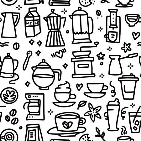 Coffee Seamless Pattern with various doodle linear elements - cup, mill, pot, turk and milk. Line hand drawn vector illustration.