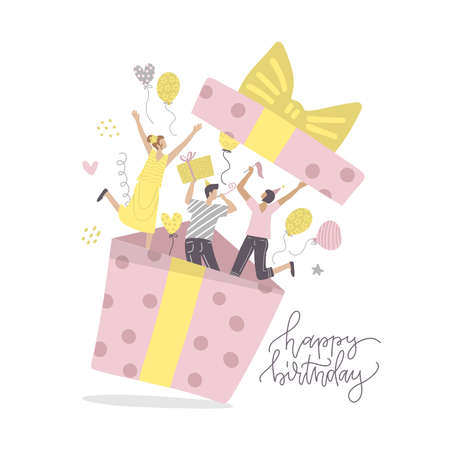 Happy friends making surprise for birthday party. People jumping out of gift box. Smiling characters waving by hands. Celebration, joy and fun concept. Flat vector hand drawn illustration